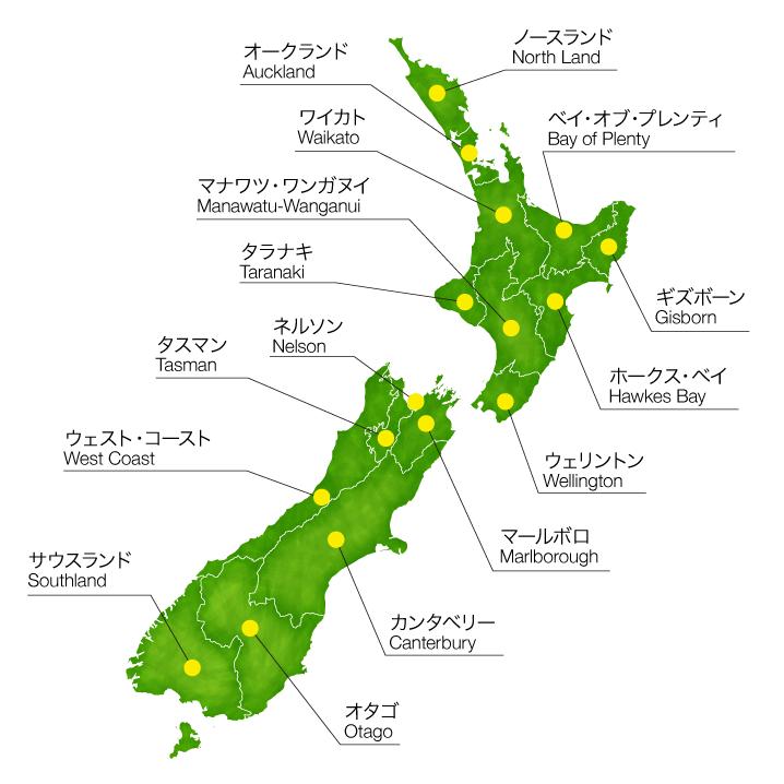 ニュージーランド行政区画地図