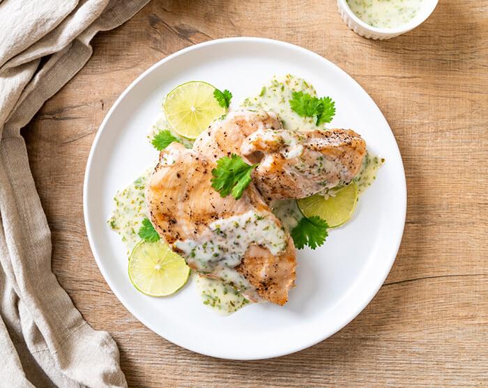 料理 チキンのレモンライムソース