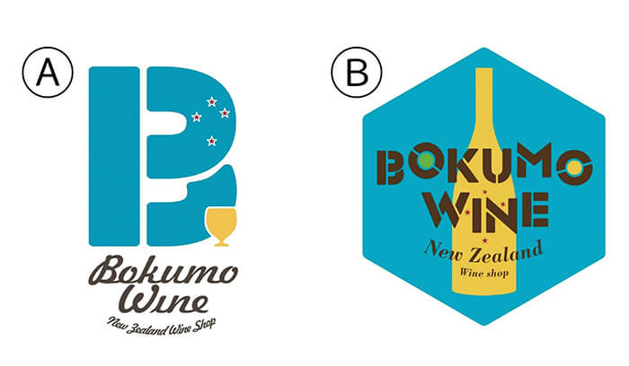 ボクモワインのロゴ案