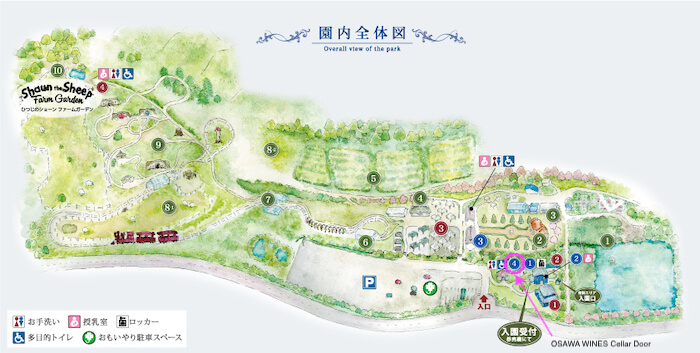 ローザンベリー多和田 園内マップ(大沢ワインズ ニュージーランドワインショップの場所)